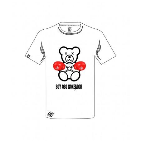camiseta oso boxeador en color blanca es unisex original el bronx