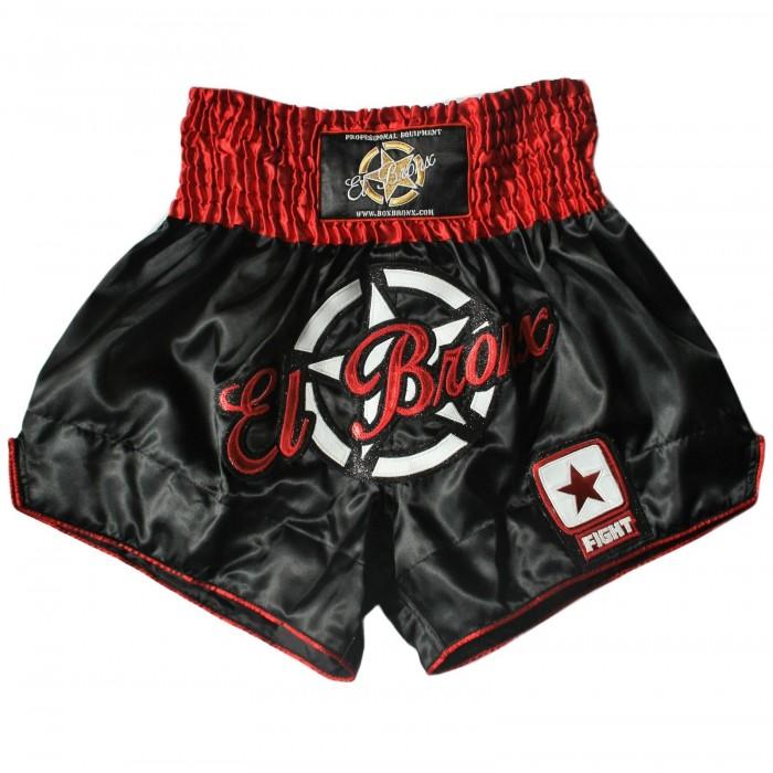 shorts para entrenamiento de kick boxing, muay thai, k1, de la marca el bronx en color negro y detalles en rojo