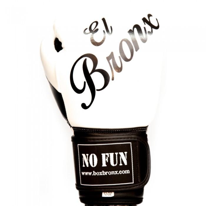 guantes de boxeo de piel, cierre con velcro, color blanco y negro