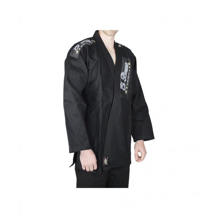 kimono de artes marciales de color negro de la maca el bronx con corte tradicional