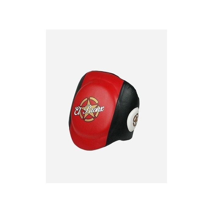 protector ventral de piel, rojo y negro