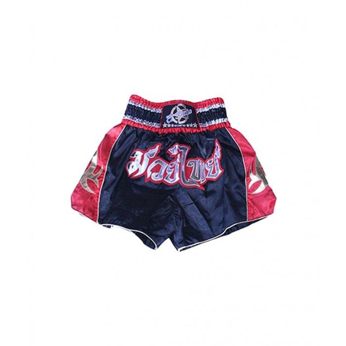 shorts para entrenamiento de kick boxing, muay thai, k1, de la marca el bronx en color negro con rojo