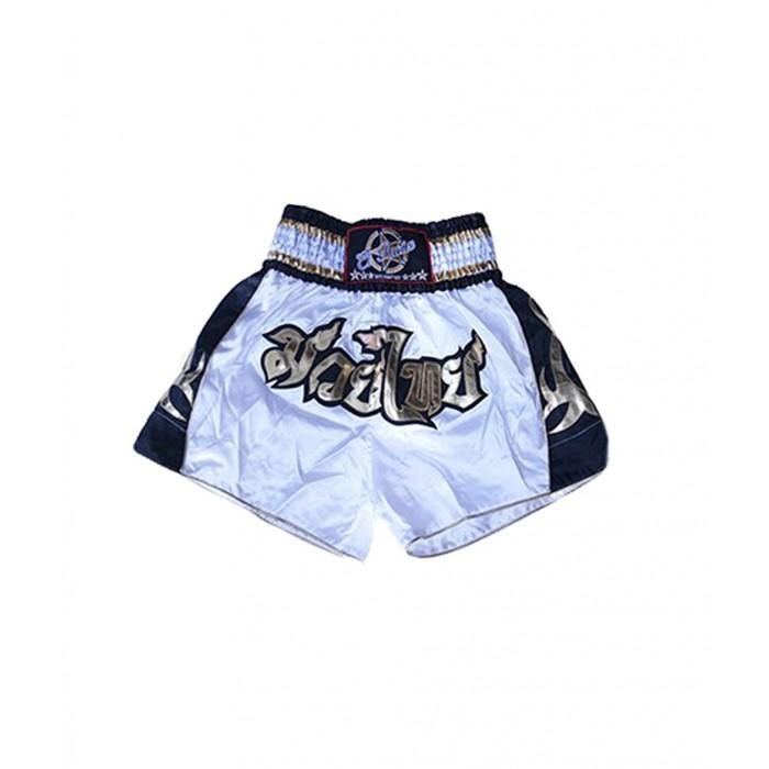 shorts para entrenamiento de kick boxing, muay thai, k1, de la marca el bronx en color blanco con lateral en color negro