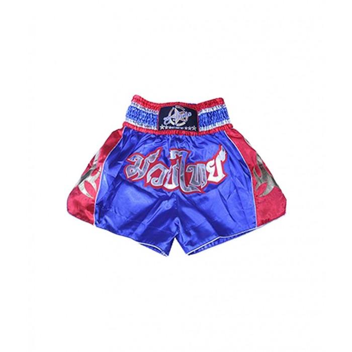 shorts para entrenamiento de kick boxing, muay thai, k1, de la marca el bronx en color azul con lateral en rojo