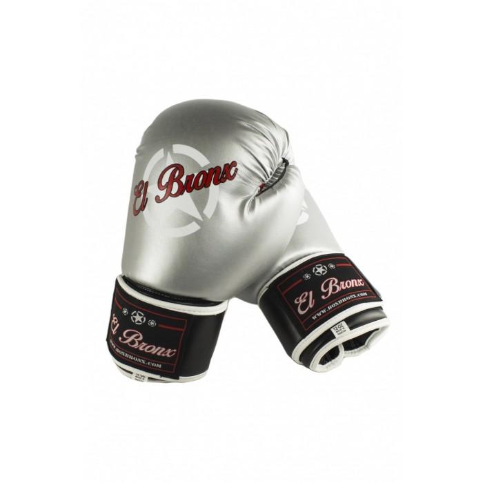 guantes e boxeo de semi-piel, cierre con velcro, color plata