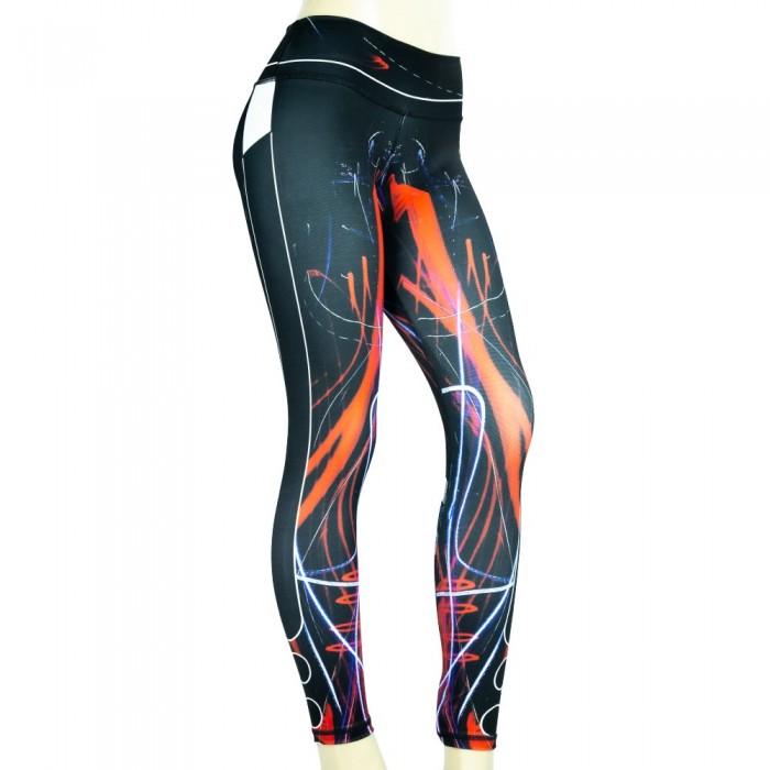 leggings para fitness, color negro y naranja