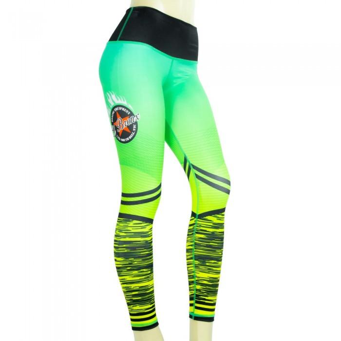 leggings para fitness, color verde y amarillo