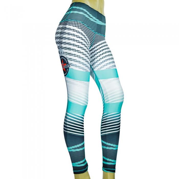leggings para fitness, color blanco y cyan
