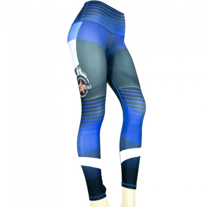 leggings para fitness, color azul y gris
