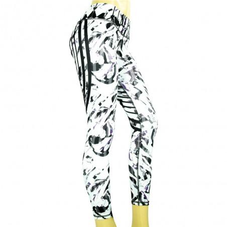 leggings para fitness, color blanco, negro y morado