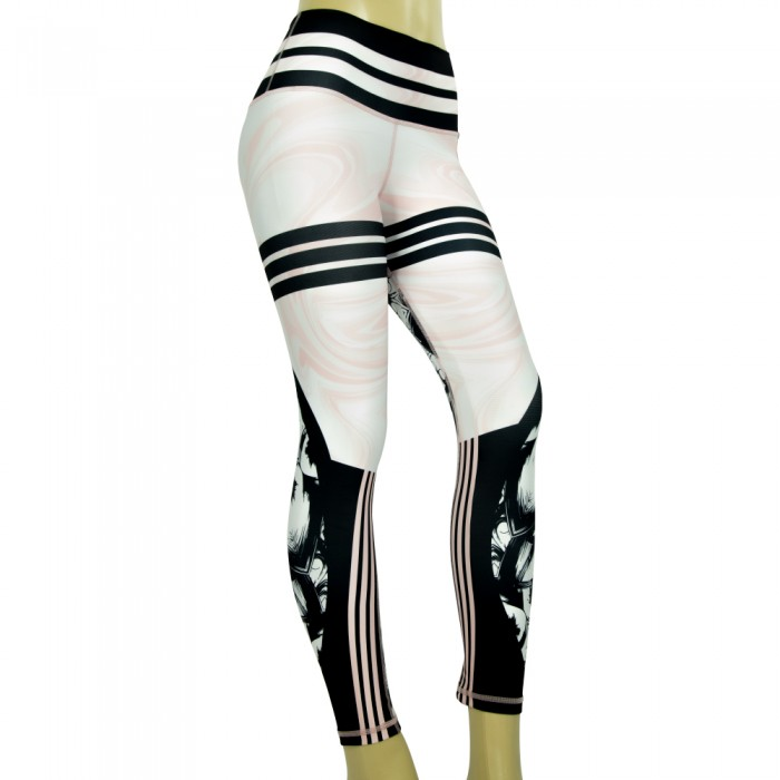 leggings para fitness, color blanco, negro y rosa