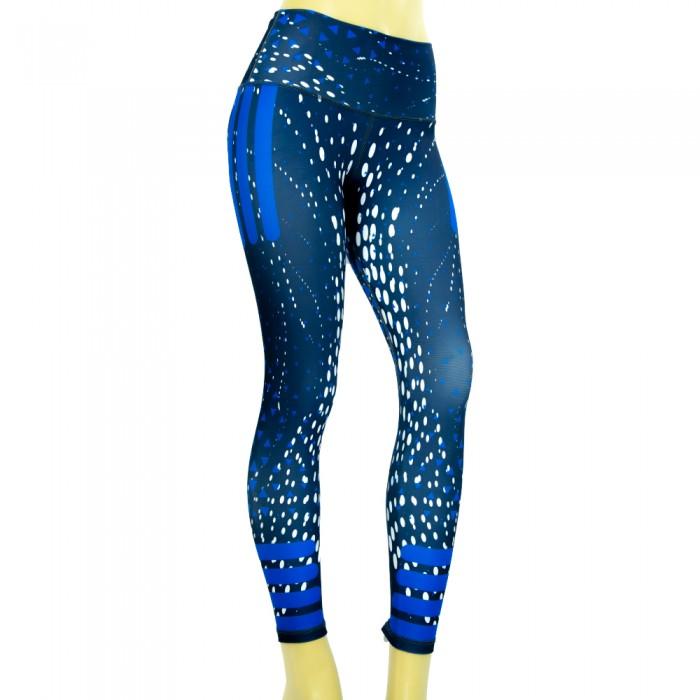leggings para fitness, color blanco y azul