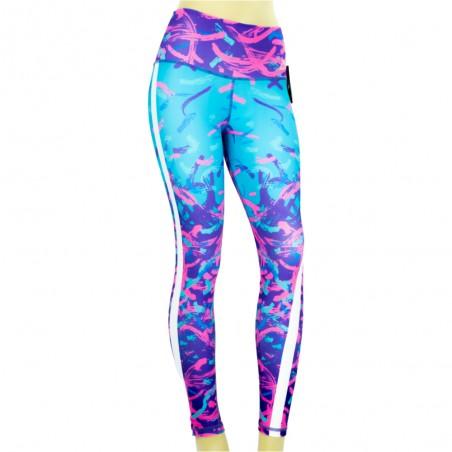 leggings para fitness, color azul y violeta