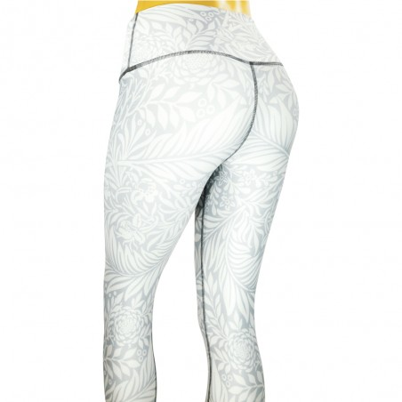 leggings para fitness, color gris y dibujo de flores.
