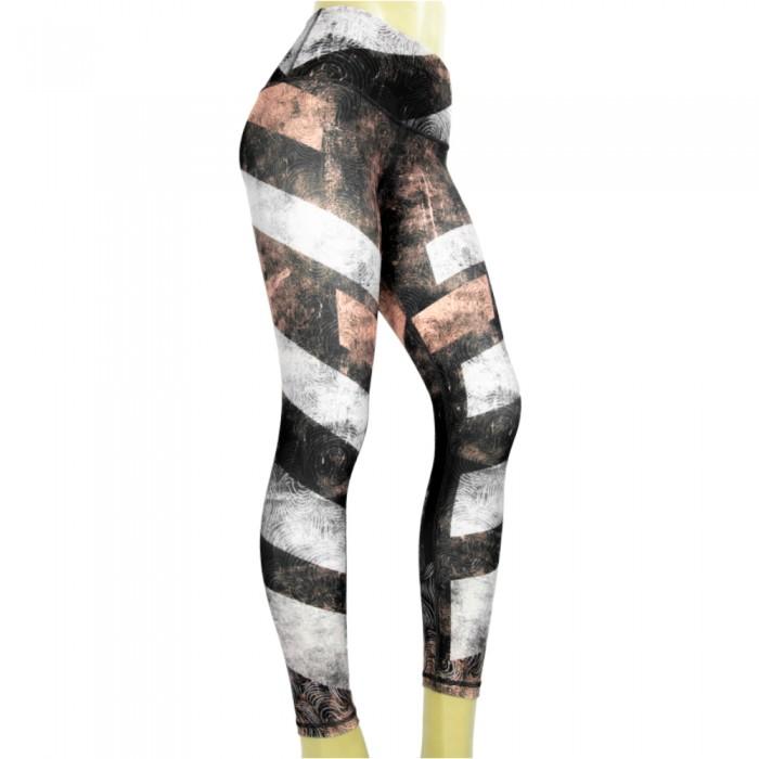 leggings para fitness, color negro, blanco y coral.