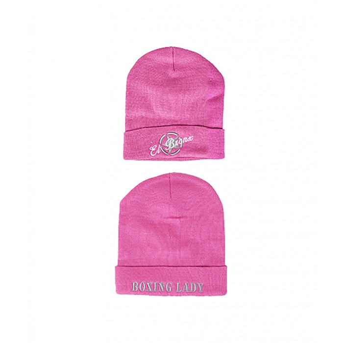 gorro de lana rosa bordado