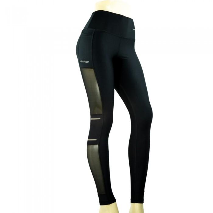 leggings deportivo drakon, color negro y plata
