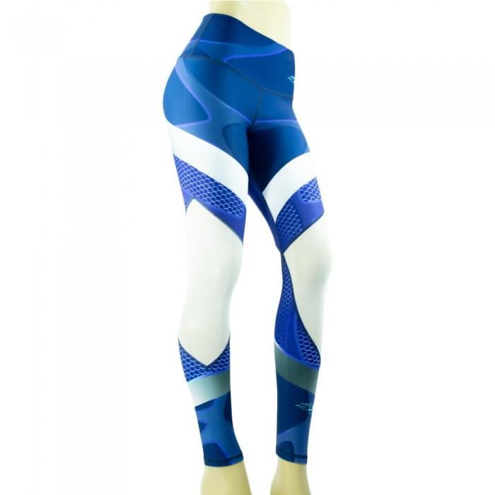 leggings para fitness, color azul y blanco