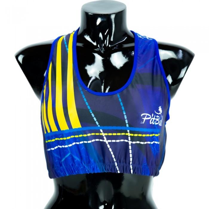 top deportivo pitbull, color azul y amarillo