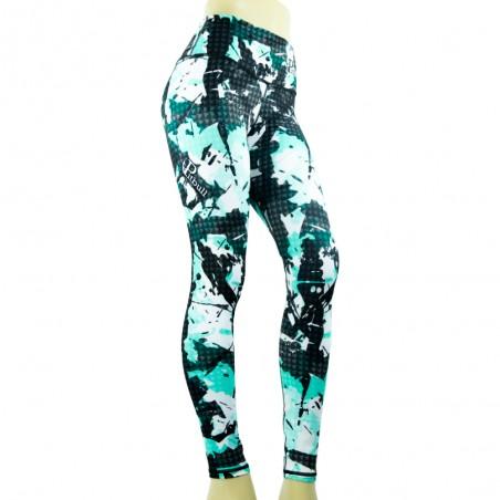 leggings pitbull para fitness, color cyan y negro