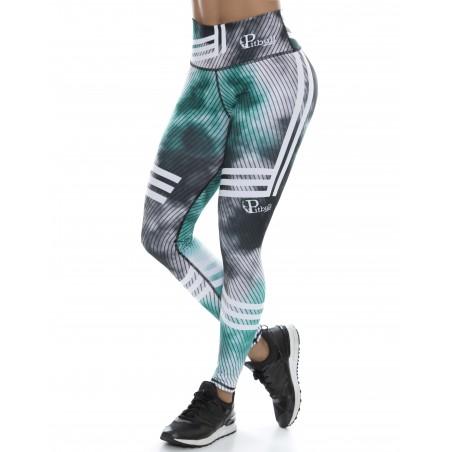 leggings pitbull para fitness, color verde y negro