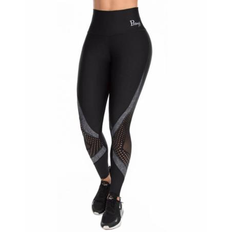 leggings pitbull con malla, color negro