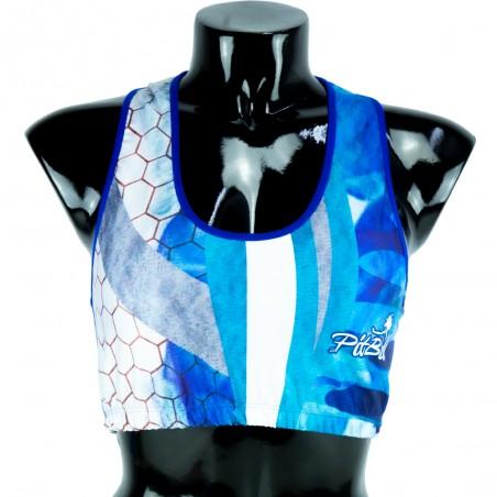 top deportivo pitbull, color azul y blanco