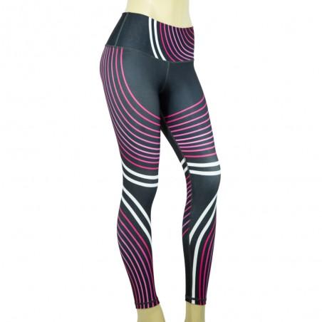 leggings para fitness, color gris, morado y blanco