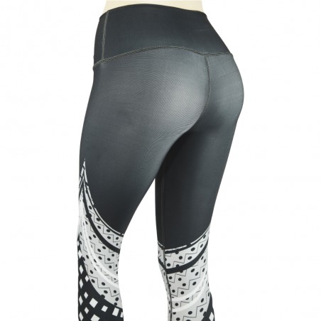 leggings para fitness, color gris y blanco