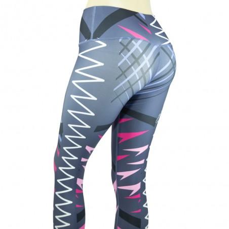 leggings para fitness, color gris y rosa