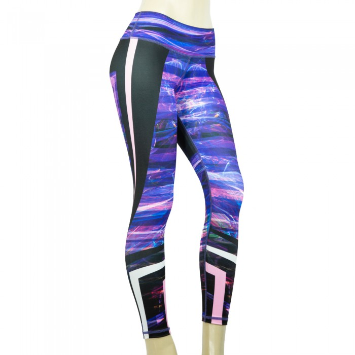 leggings para fitness, color negro y morado