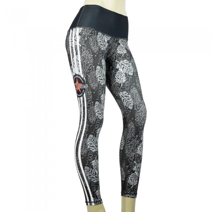 leggings para fitness, color gris y blanco.