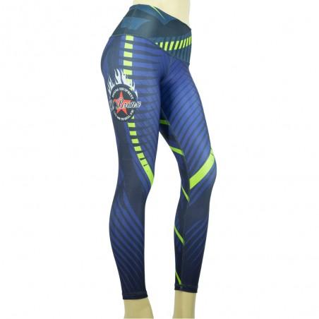 leggings para fitness, color azul y amarillo