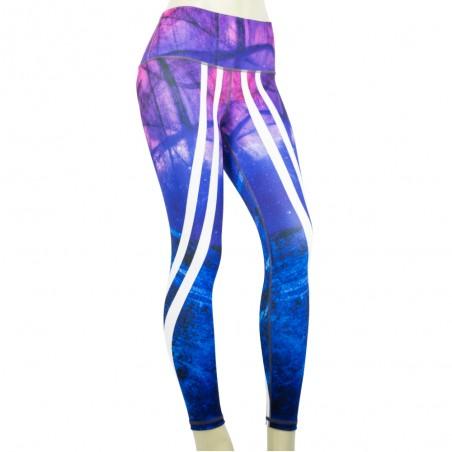 leggings para fitness, color azul y morado
