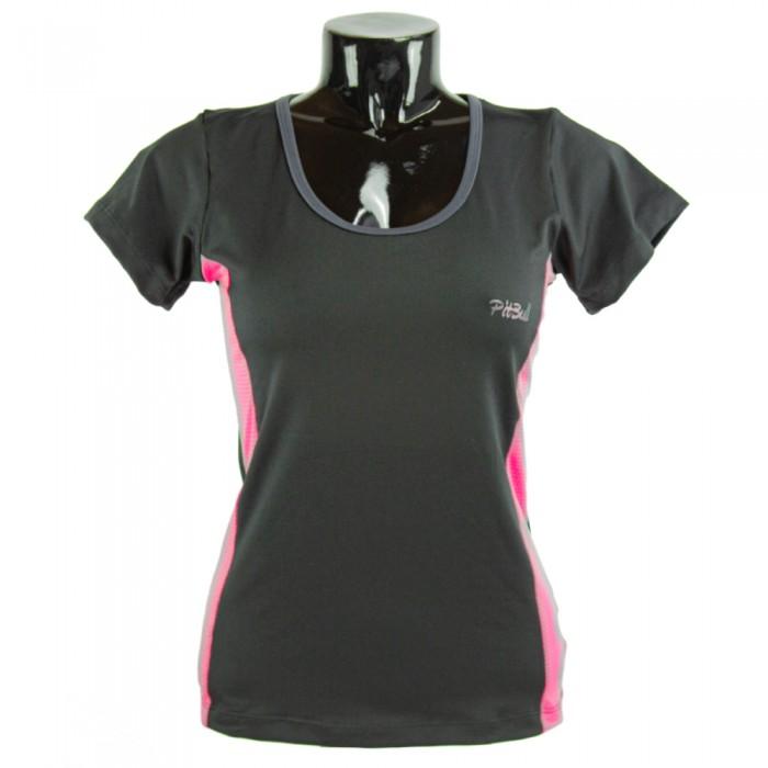 camiseta fitness elastica negro y fucsia