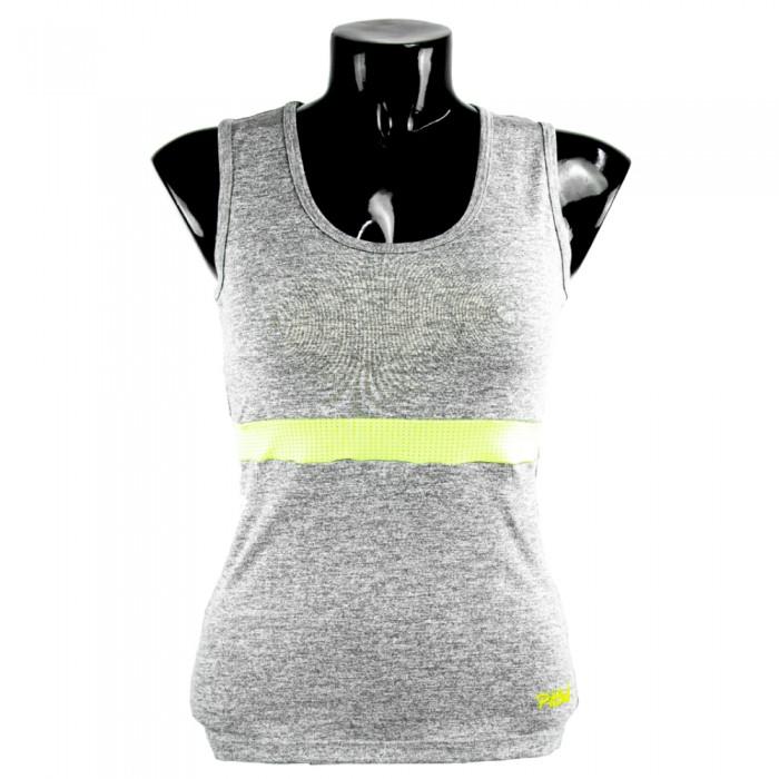 camiseta de mujer fitness gris y amarillo fluor el bronx