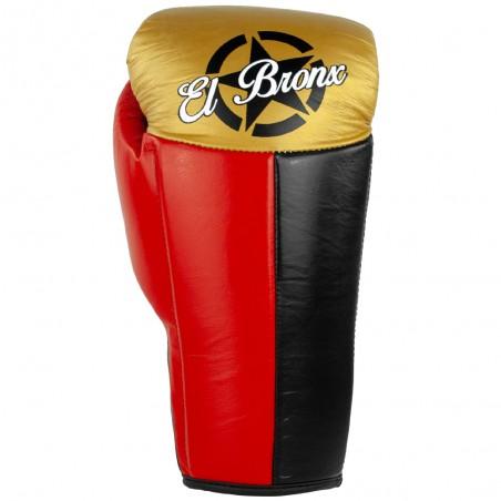 guantes de boxeo de piel, cierre con cuerdas, color rojo, negro y oro