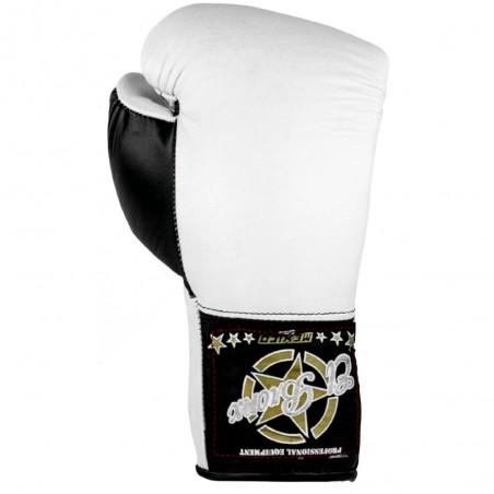 guantes de boxeo de piel, cierre con cuerdas, color blanco y negro