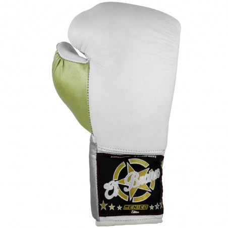 guantes de boxeo de piel, cierre con cuerdas, color blanco y verde