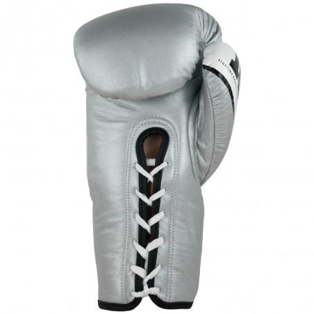 guantes de boxeo de piel, cierre con cuerdas, color plata