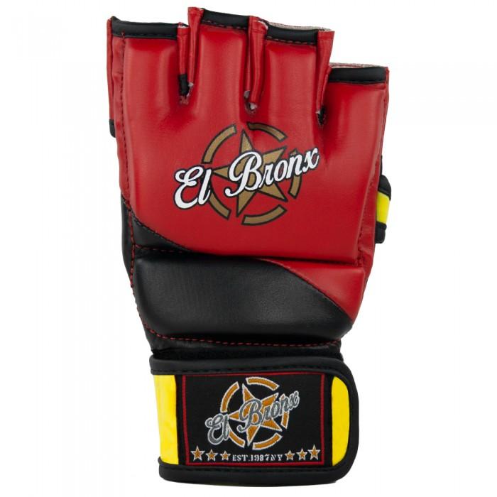 guantillas mma de semi-piel, cierre con velcro, color rojo, negro y amarillo