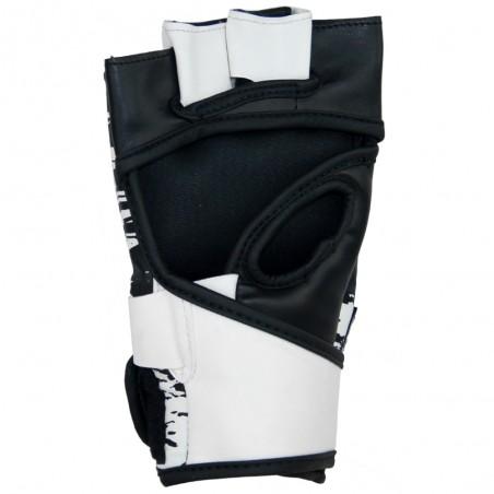 guantillas mma de semi-piel, cierre con velcro, color blanco y negro