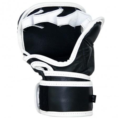 guantillas de mma de piel, cierre con velcro, color blanco y negro