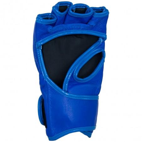 guantillas mma de cuero, cierre con velcro, color azul