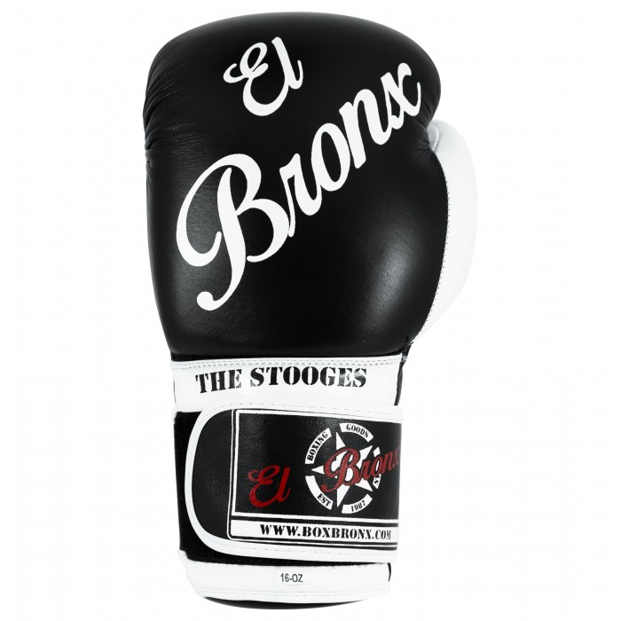 guantes de boxeo de piel, cierre con velcro, color negro y blanco