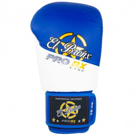 guantes de boxeo de piel, cierre con velcro, color blanco y azul