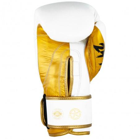 guantes de boxeo de piel, cierre de velcro, color blanco y oro