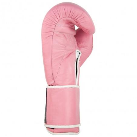 guantes de boxeo de piel, cierre con velcro, color rosa