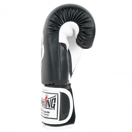 guante de boxeo de semi-piel, cierre con velcro, color blanco y negro