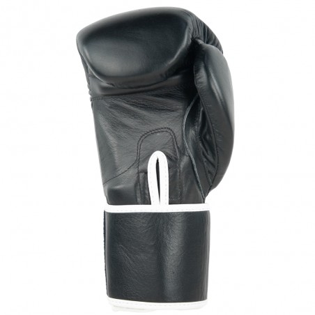 guantes de boxeo de piel, cierre de velcro, color negro